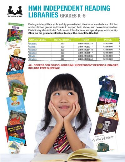 BRAND NEW!  SCHOOLWIDE/HMH INDEPENDENT READING LIBRARIES FOR GRADES K–5. INCLUDES FREE SHIPPING!