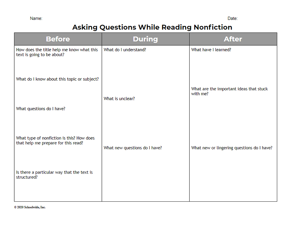 Asking Questions While Reading Nonfiction