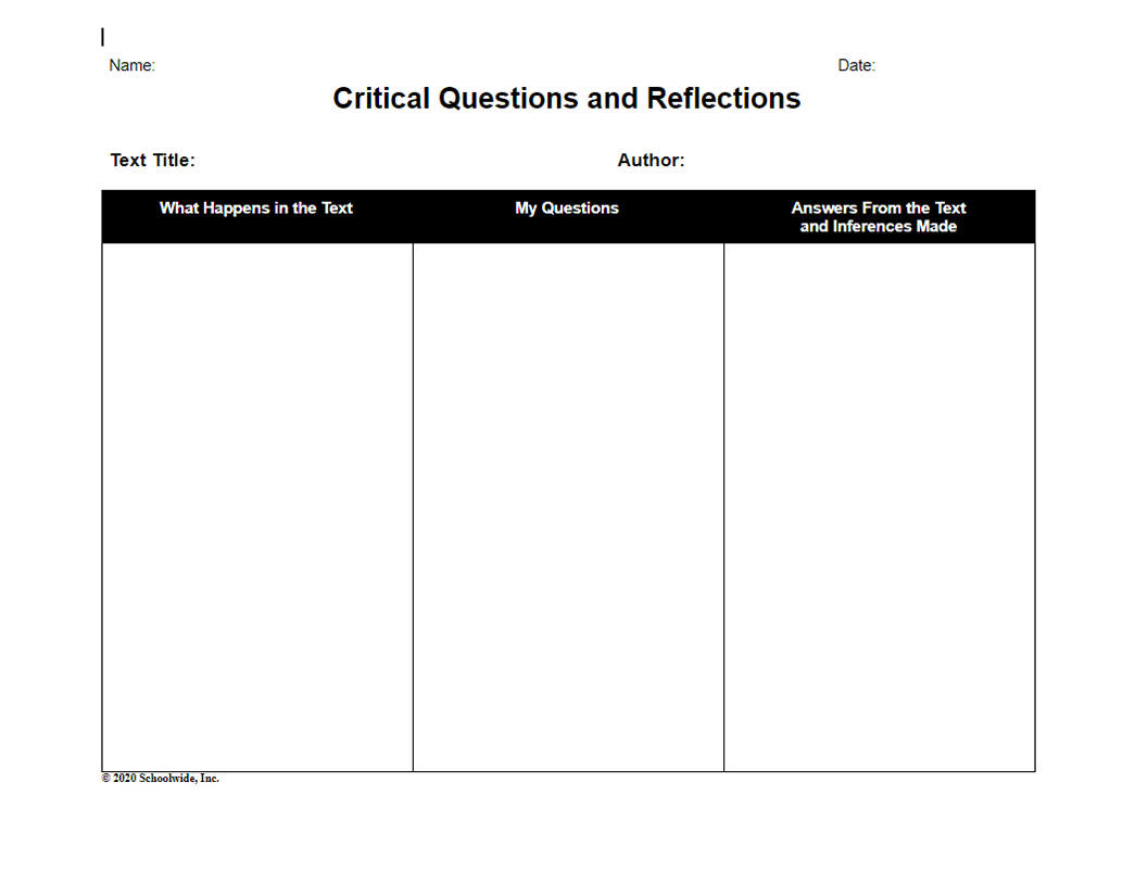 Critical Questions and Reflections – Fiction