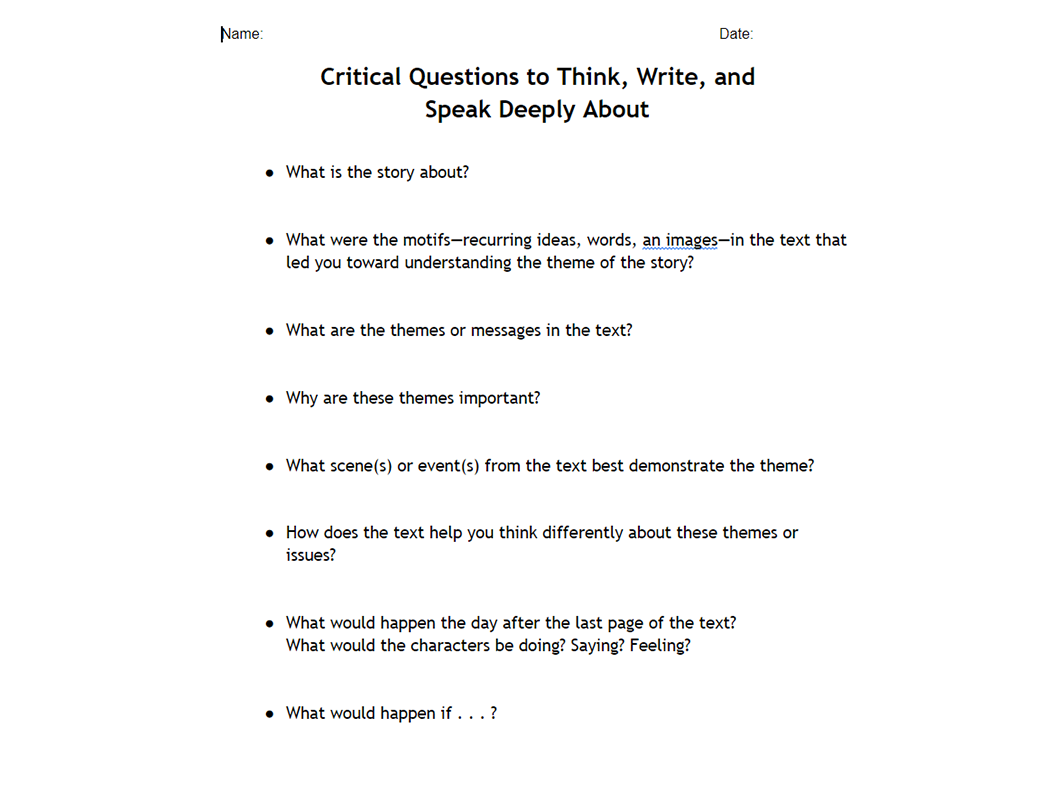 Critical Questions to Think, Write, and Speak Deeply About – Fiction