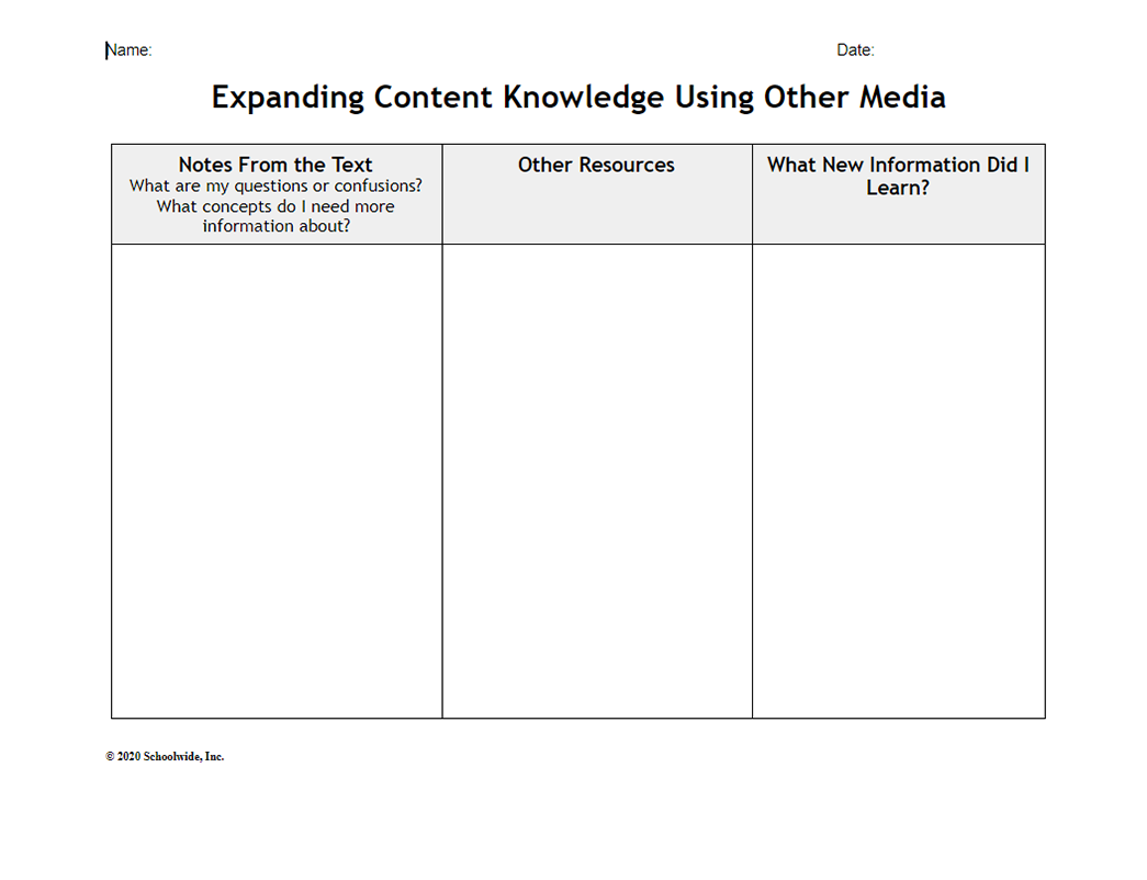Expanding Content Knowledge Using Other Media
