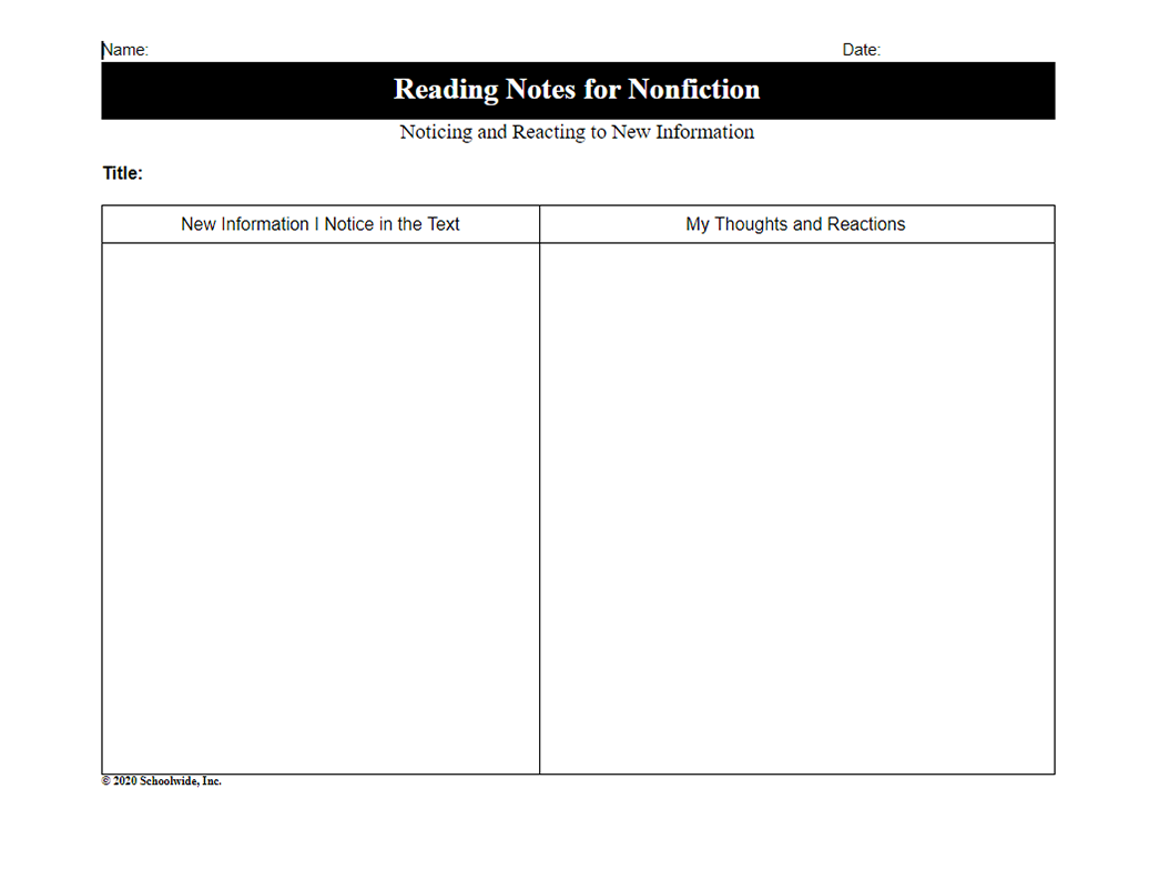 Noticing and Reacting to New Information – Nonfiction