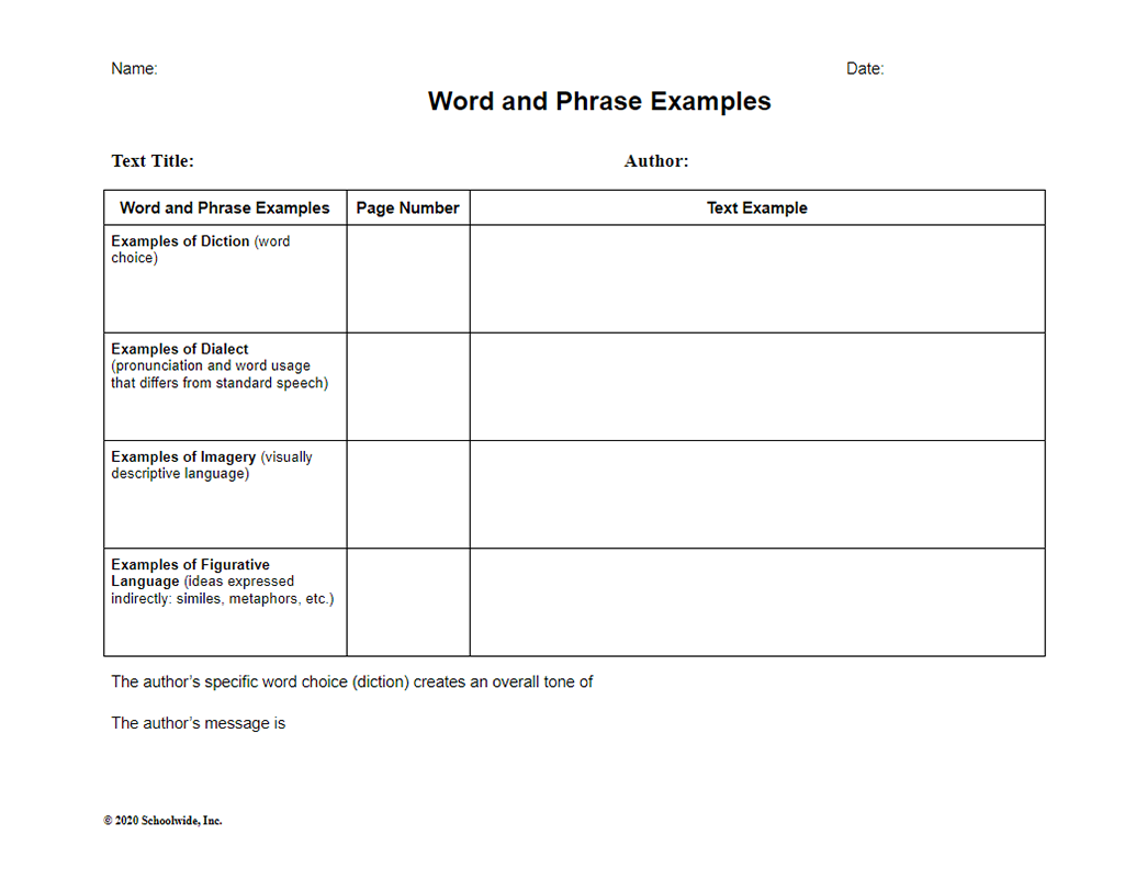 Word and Phrase Examples